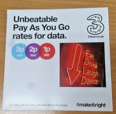 Three Trio SIM Pay As You Go Combi Multi UK With £10 Credit