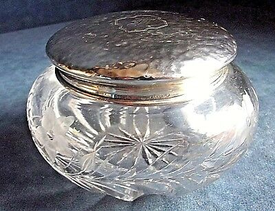 SUPERB Large ~ STERLING Solid SILVER Topped ~ JAR ~ 1920s