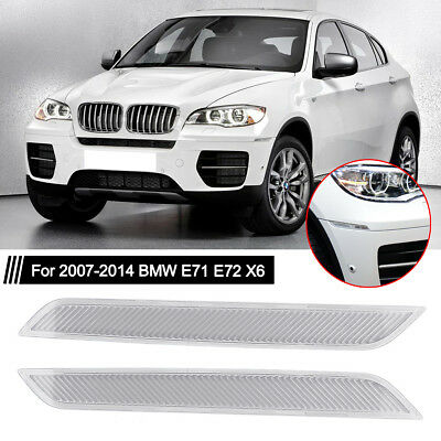 Pair Clear Front Bumper Side Marker Reflector Fit For 2007-2014 BMW E71 E72 X6