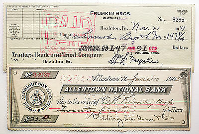 2 different Pennsylvania USA pre-1950 bank checks nice used