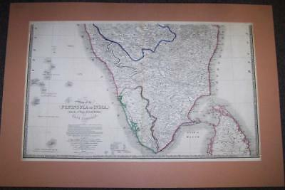 1844 MAP Of The PENINSULA Of INDIA By J WYLD Large Size Map HAND COLOURED