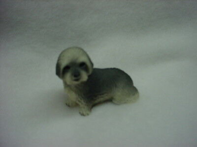 LHASA APSO gray puppy TiNY DOG resin Figurine HAND PAINTED MINIATURE MINI new