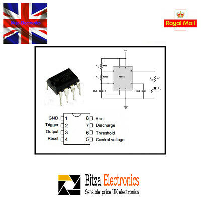 10 x NE555P DIP-8 IC Timer UK Seller
