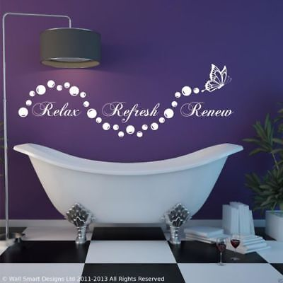 Relax Salle de Bain Bulles en Suite Art Mural Autocollant Citation Décalcomanie