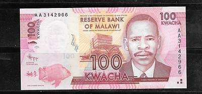 MALAWI #59a 2012 100 KWACHA UNC MINT BANKNOTE PAPER MONEY CURRENCY BILL NOTE