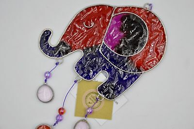 New Stained Glass Hanging Elephant Sun Catcher Red Purple Pink Decoration Sd
