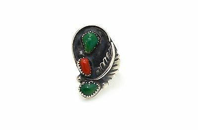 Sterling Silver Feather Oblong Ring with Malachite and Carnelian Stones - Size 6