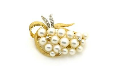 Vintage 14k Yellow & White Gold Cluster Diamond & Pearl Brooch - .10 ct. total