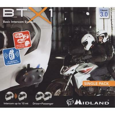 Rxau Btx1 Single Midland Interfono Bluetooth Per Moto Versione Singola