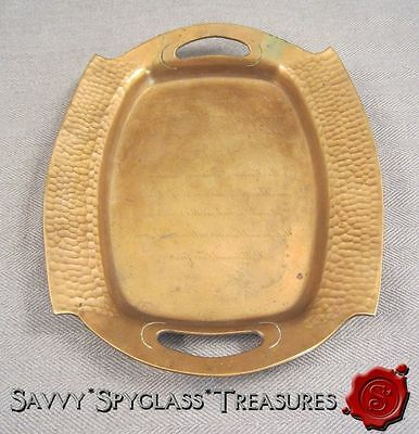 Arts & Crafts Movement Antique Hammered Copper Tray Wedding Announcement