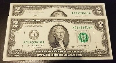 Rare Crisp 2013 Uncirculated $2 Bill Two Dollar A Note Sequential Order (A30)