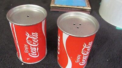 """Pair of Vintage Coca Cola Coke Can Salt & Pepper Shakers 2.5"""" Tall 1.5"""" Diam"""
