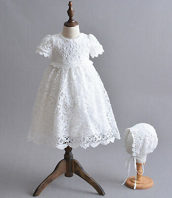 Girls Lace Christening Dress and Bonnet White Ivory 0-3 3-6 6-9 9-12 Months