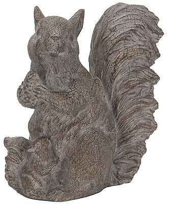 "Resin Gray Squirrel with Nut & Baby Figure Garden Home Decor Accent 7"" H NEW"