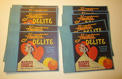 Lot of 10 Old Vintage - HEARTS DELITE - Florida Citrus - Advertising CARDS