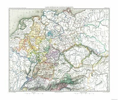 International Map - Germany in 1789 - Thiers 1866 - 26.89 x 23