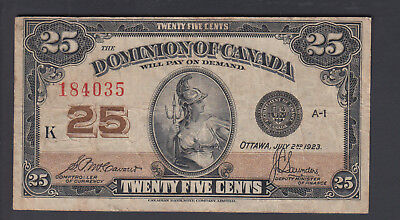 1923 25 Cents Shinplaster - McCavour Saunders - Dominion of Canada - D979