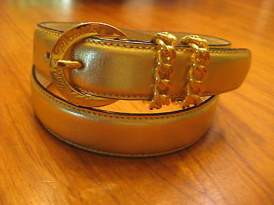 8ed5172d2aab4 PALOMA PICASSO Vintage Gold Metallic Genuine Leather Belt Logo Buckle Dbl  Keeper