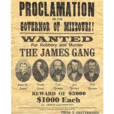 THE James Gang Wanted FOR ROBBERY AND MURDER Old West Bar Pub Wall Decor
