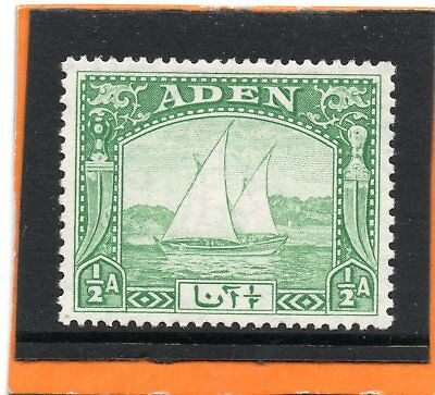 Aden Dhow 1937 1/2a yellow-green sg 1 HH.Mint