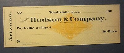 Old 1880's - TOMBSTONE ARIZONA - Bank Check - Hudson & Company - Revenue Stamp