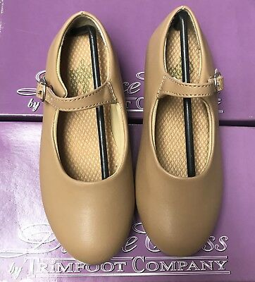 Kids Size 2.5 Tan Mary Jane Buckle Tap Dance Shoes New In Box !