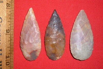"""(3) Fine Colorful Sahara Neolithic Blades (2""""+),  Prehistoric African Artifacts"""