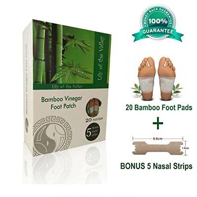 ORGANIC 20 Pcs Bamboo Foot Pads, Remove Impurities Body Relief FREE Nasal strips