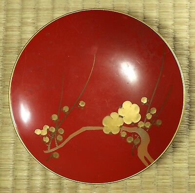 Lacquered Sake Cup / Cherry Blossom Design / Japanese / Antique