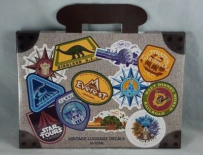 Disney Parks WDW Vintage 50 Luggage Decals Stickers Travel Walt Disney World NEW