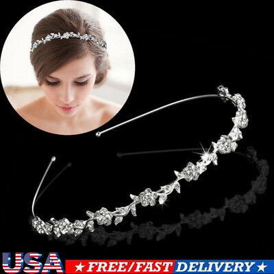 Bridal Wedding Crown Rhinestone Crystal Pearls Tiaras & Headbands Hair Jewelry
