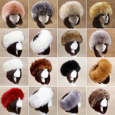 Women Russian Cossack Fluffy Faux Fox Fur Hat Headband Winter Earwarmer Hat Ski