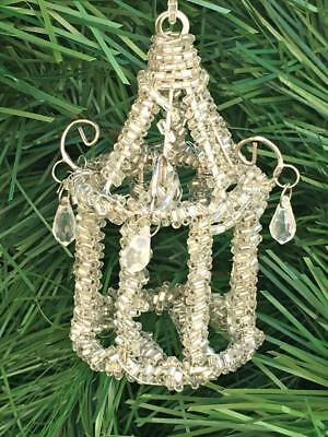 CHRISTMAS ORNAMENT ANTIQUE VINTAGE ALL GLASS TUBE CRYSTALS-Chandelier HANG STYLE