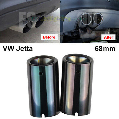2× 68mm Black Stainless Steel Exhaust Pipe Muffler Tip VW Jetta Polo 6R Golf 7