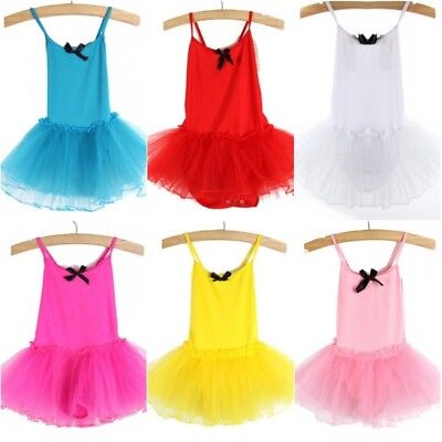Girls Kids Ballet Dance Tutu Dress Toddler Leotard Dancewear Skating Dress USA