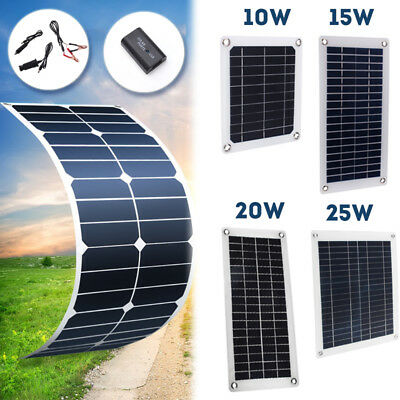 10W/15W/20W/25W 5V 12V Solar Panel Sunpowe Battery Charger RV Motorhome Boats