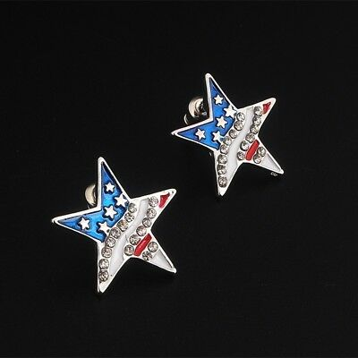 2pcs USA American Flag Patriotic Red Blue Star Earrings Ear Studs Jewelry Unisex