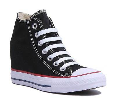 0f06d2a1f8bff7 Converse Chuck Taylor All Star Lux Wedge Mid Women Black Trainers Size UK 3  - 8