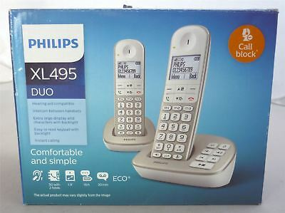 Philips XL495 / XL4952 Twin Duo Cordless Home Phone Telephone Answering Machine