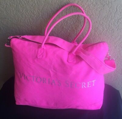 4ddde193d699 VICTORIA SECRET NEON Hot Pink Tote Large Duffle Bag Weekender Travel ...