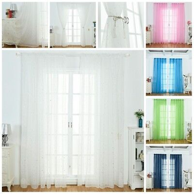 Star Tulle Curtains Home Door Window Voile Drape Panel Sheer Scarf Divider Decor