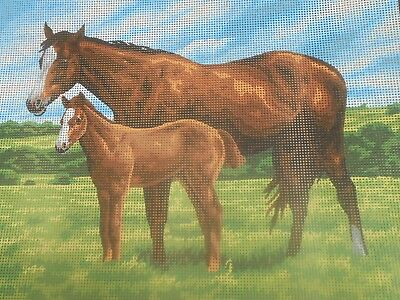 "Collection D'Art ""Mare with Foal"" Printed Tapestry Canvas"