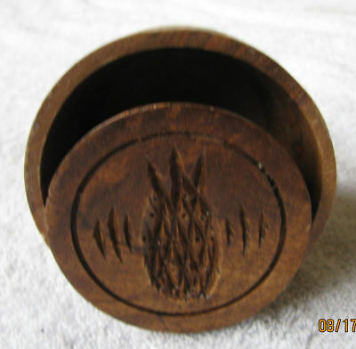 Vintage Antique Pineapple Design Butter Mold Large Size Wood Wooden Kitcheware