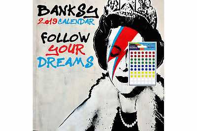 Calendar - Banksy 2019 Wall Calendar - Includes 70 Coloured Dot Stickers