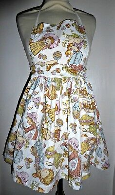 Vintage 70S Girls Bibbed Holly Hobbie Style Apron Pinny Age 5 6 7