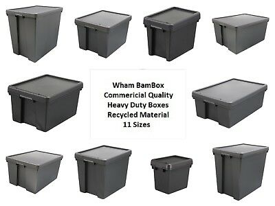 Wham Bam Black Heavy Duty Plastic Storage Box Boxes With Lids - Recycled Plastic