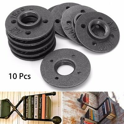 10Pcs 1'' Black Malleable Threaded Floor Flange Iron Pipe Fittings Wall Mounted