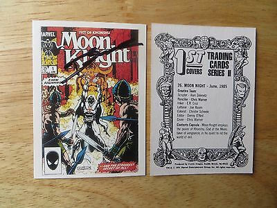 1991 Marvel Classic Covers Moon Knight # 1 Card Signed Denny Oneil, With Poa