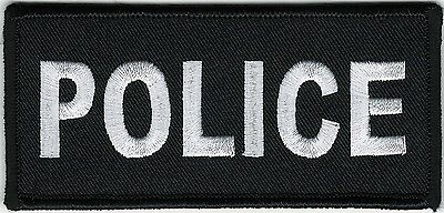 """2"""" x 4 1/2"""" Black White Police Cops Patch VELCRO® BRAND Hook Fastener Compatible"""