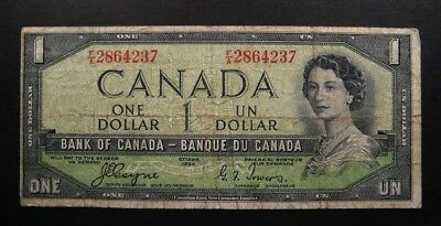 Bank of Canada $1 Dollars Banknote 1954 Devil Face Coyne / Towers SCARCE